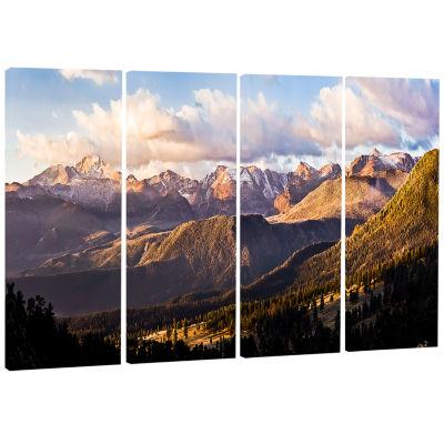 Design Art Clouds Over Long S Peak Landscape Canvas Print - 4 Panels