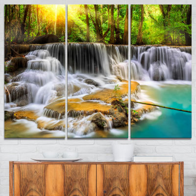 Designart Wide View Of Erawan Waterfall LandscapeArt Print Canvas - 3 Panels