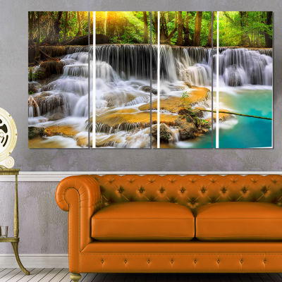 Design Art Wide View Of Erawan Waterfall Landscape Art Print Canvas - 4 Panels