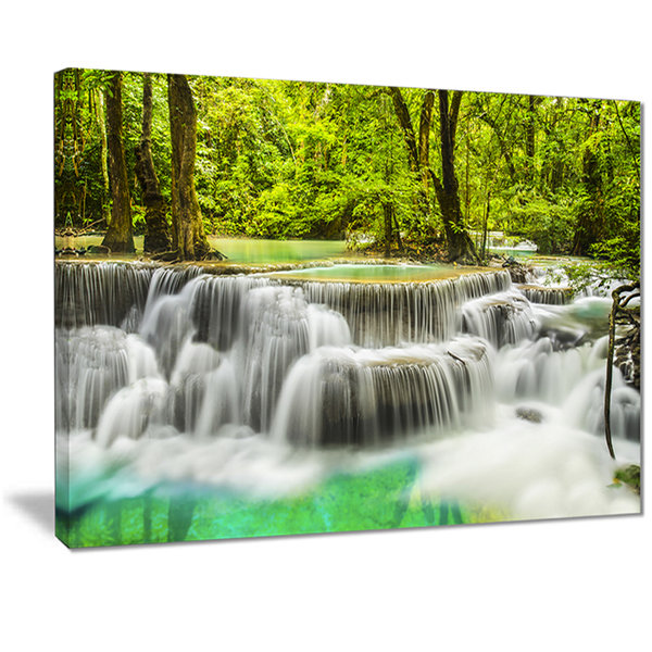 Design Art Erawan Waterfall View Photography Canvas Art Print