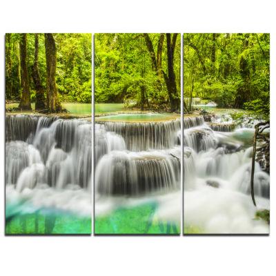 Designart Erawan Waterfall View Photography CanvasArt Print - 3 Panels