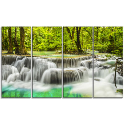 Designart Erawan Waterfall View Photography CanvasArt Print - 4 Panels