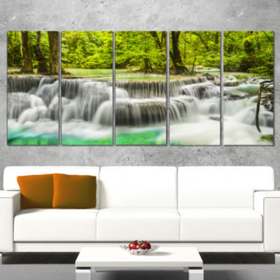 Designart Erawan Waterfall View Photography CanvasArt Print - 5 Panels