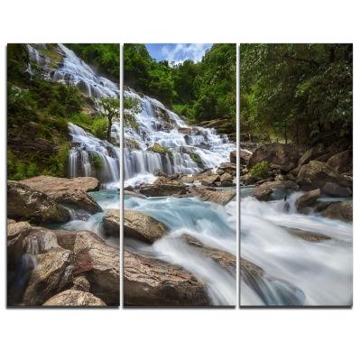 Design Art White Mae Ya Waterfall Landscape Photography Canvas Art Print - 3 Panels