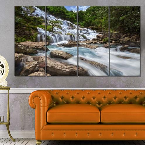 Designart White Mae Ya Waterfall Landscape Photography Canvas Art Print - 4 Panels