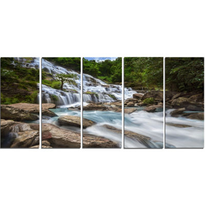 Designart White Mae Ya Waterfall Landscape Photography Canvas Art Print - 5 Panels