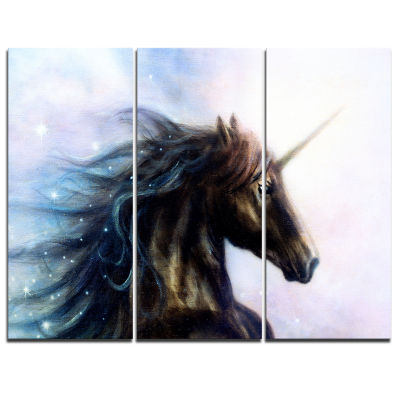 Design Art Black Unicorn Animal Canvas Art Print -3 Panels