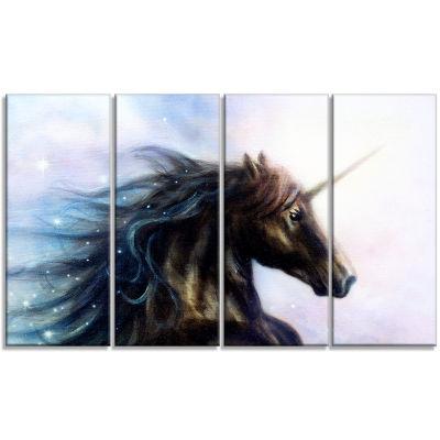 Designart Black Unicorn Animal Canvas Art Print -4Panels