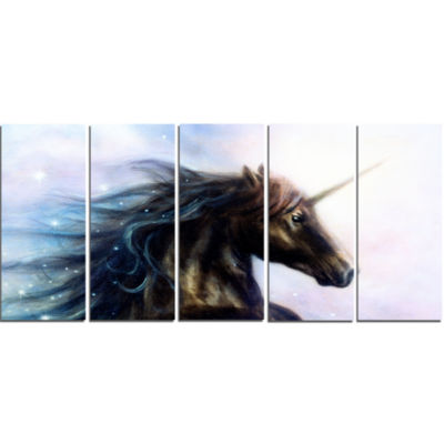 Designart Black Unicorn Animal Canvas Art Print -5Panels