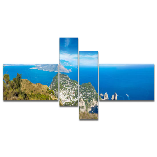 Designart Capri Island In Italy Photography CanvasArt Print - 4 Panels