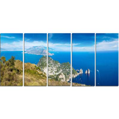 Designart Capri Island In Italy Photography Canvas Art Print - 5 Panels