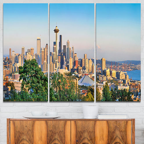 Designart Seattle Skyline Panorama At Sunset Landscape Art Print Canvas - 3 Panels
