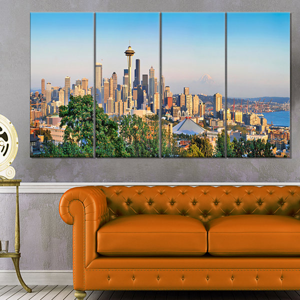 Design Art Seattle Skyline Panorama At Sunset Landscape Art Print Canvas - 4 Panels