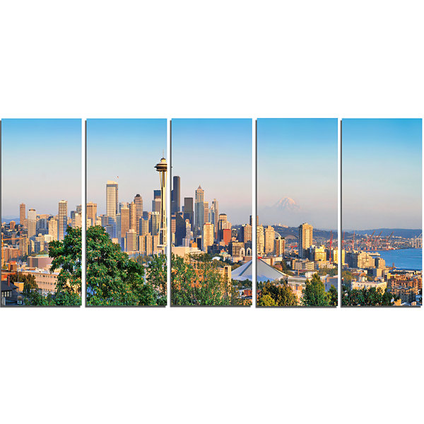 Design Art Seattle Skyline Panorama At Sunset Landscape Art Print Canvas - 5 Panels