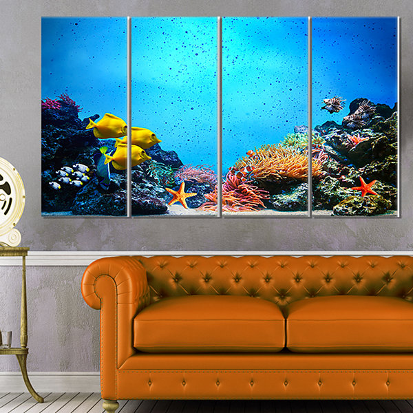 Designart Underwater Scene Seascape Photography Canvas Art Print - 4 Panels