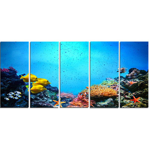 Designart Underwater Scene Seascape Photography Canvas Art Print - 5 Panels