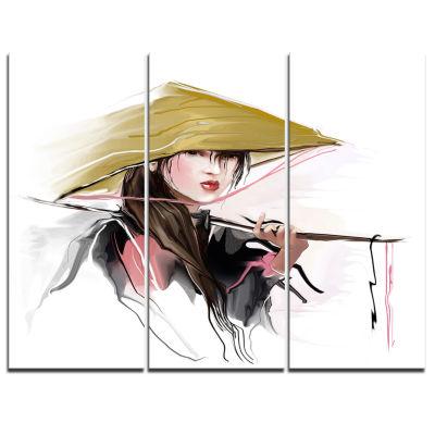 Designart Vietnamese Woman Digital Art Portrait Canvas Print - 3 Panels