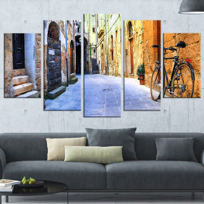 Design Art Pictorial Street Of Old Italy (373) Cityscape Canvas Art Print - 5 Panels