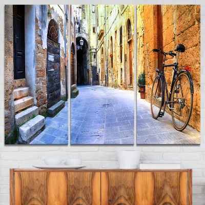 Designart Pictorial Street Of Old Italy CityscapeCanvas Art Print - 3 Panels
