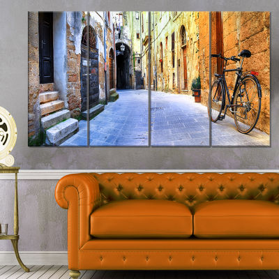 Designart Pictorial Street Of Old Italy CityscapeCanvas Art Print - 4 Panels