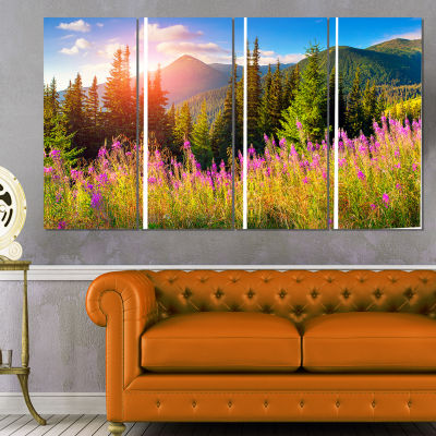 Designart Mountains With Pink Flowers Canvas ArtPrint - 4 Panels