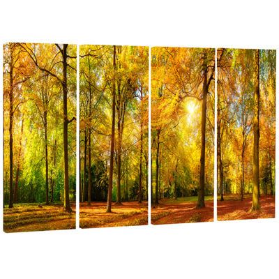 Designart Gorgeous Autumn Of Sunny Forest Landscape Photography Canvas Print - 4 Panels