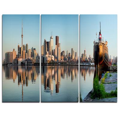 Designart Toronto City Skyline Panorama CityscapePhotography Canvas Print - 3 Panels