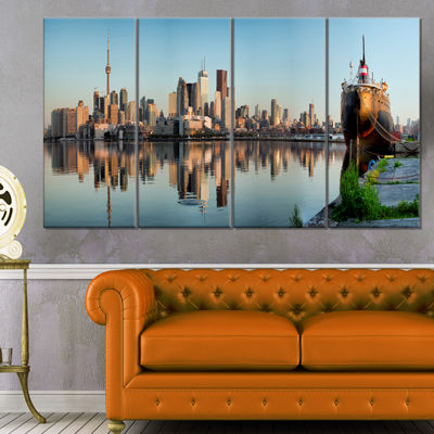Designart Toronto City Skyline Panorama CityscapePhotography Canvas Print - 4 Panels