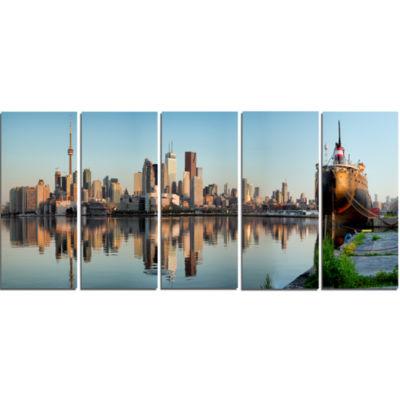 Designart Toronto City Skyline Panorama CityscapePhotography Canvas Print - 5 Panels