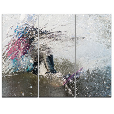 Designart Guy On A Wakeboard Landscape Canvas ArtPrint - 3 Panels