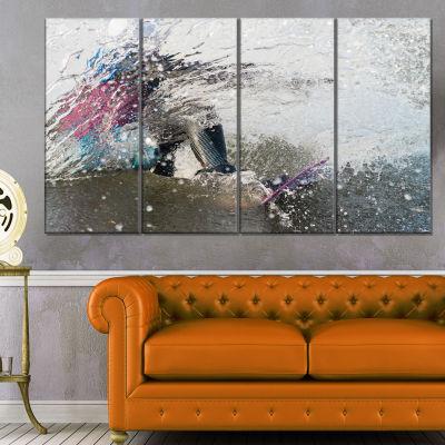 Designart Guy On A Wakeboard Landscape Canvas ArtPrint - 4 Panels