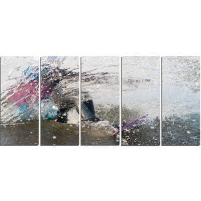 Designart Guy On A Wakeboard Landscape Canvas ArtPrint - 5 Panels