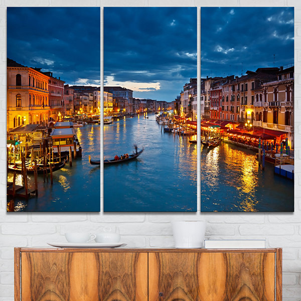 Design Art Grand Canal At Night Venice Cityscape Photo Canvas Print - 3 Panels