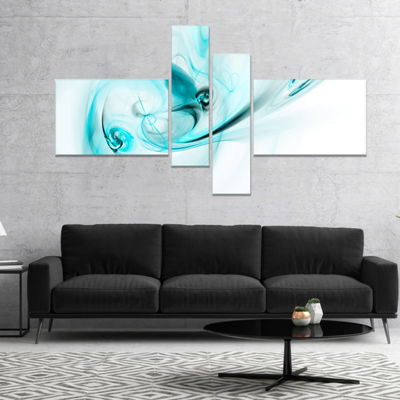 Designart Colored Smoke Light Blue Abstract CanvasArt Print - 4 Panels