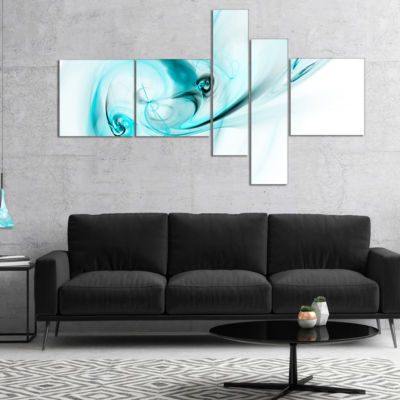 Designart Colored Smoke Light Blue Abstract Canvas Art Print - 5 Panels