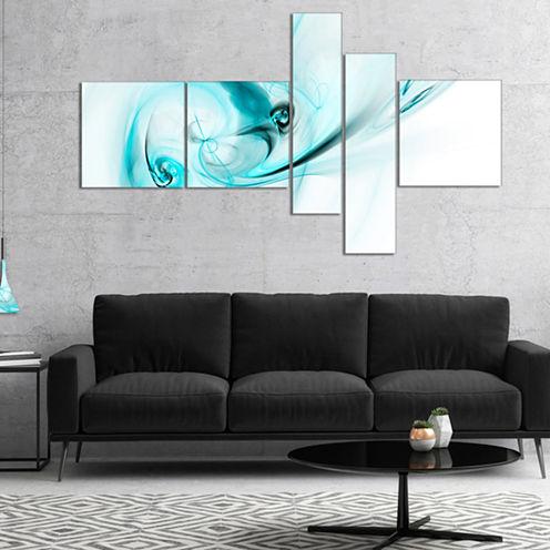 Designart Colored Smoke Light Blue Abstract CanvasArt Print - 5 Panels