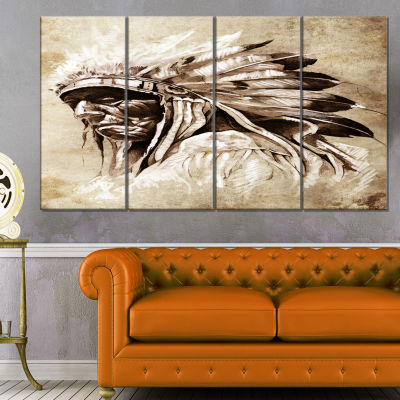Designart Vintage Style Indian Head Tattoo Abstract Print On Canvas - 4 Panels