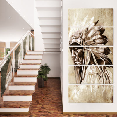 Designart Vintage Style Indian Head Tattoo Abstract Print On Canvas - 5 Panels