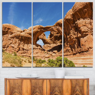 Design Art Double Arch In Arches National Park Landscape Photography Canvas Print - 3 Panels