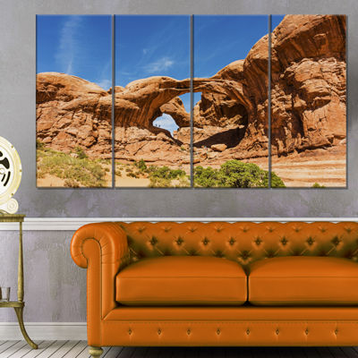 Designart Double Arch In Arches National Park Landscape Photography Canvas Print - 4 Panels