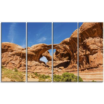 Designart Double Arch In Arches National Park Landscape Photography Canvas Print - 4 Panels