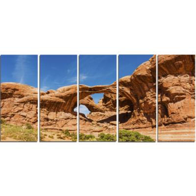 Designart Double Arch In Arches National Park Landscape Photography Canvas Print - 5 Panels