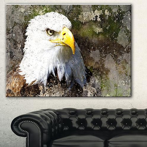 Design Art Eagle Head With Textures Animal Canvas Art Print