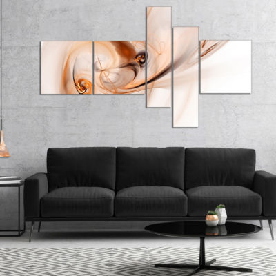 Designart Spiral Nebula Space Orange Abstract Art-5 Panels