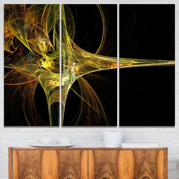 Designart Fractal Art Work Yellow Abstract CanvasArt Print - 3 Panels