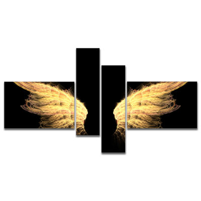 Designart Hell Gold Wings Abstract Canvas Art Print - 4 Panels