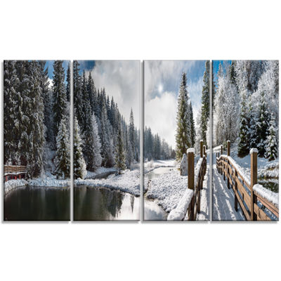 Designart Winter Morning Panorama Landscape Photography Canvas Print - 4 Panels