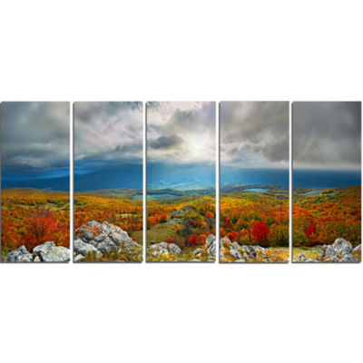 Designart Autumn In Crimean Mountains Landscape Photography Canvas Print - 5 Panels