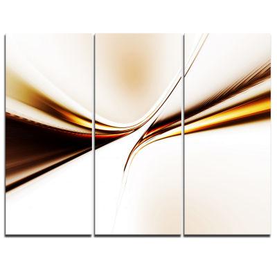 Designart Dynamic Golden Waves Abstract Canvas ArtPrint - 3 Panels