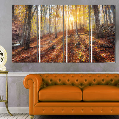 Designart Crimean Mountains Yellow Autumn Landscape Photography Canvas Print - 4 Panels